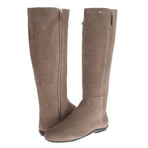 DKNY Saga Side Zip Up Flat Mid Calf Boots